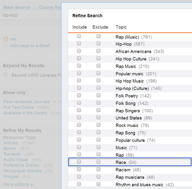 This screen grab shows the menu for refining your search by subject. It lets you click check boxes to include or exclude various topics like African Americans, Rap Music, Popular Music, Folk Songs, United States, Race, Rhythm and Blues music and many more.