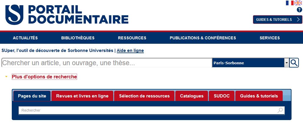 Portail documentaire de Sorbonne Universités