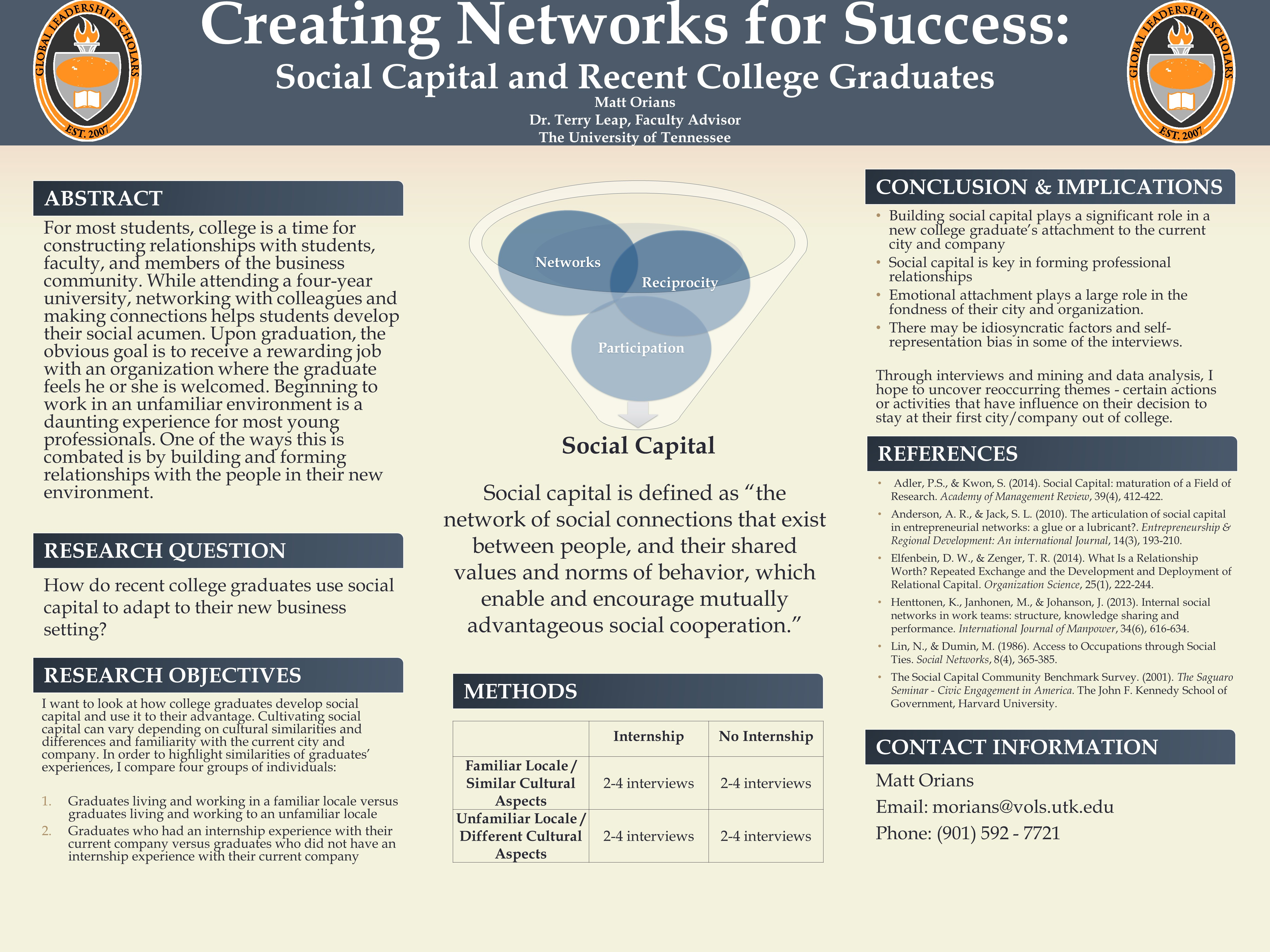 Creating Networks for Success: Social Capital and Recent College Graduates