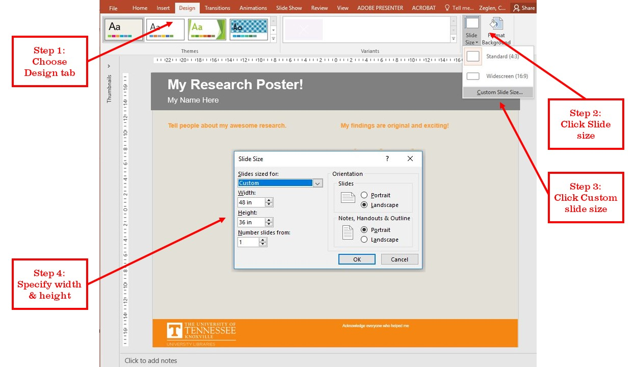 Resize a slide in PPT