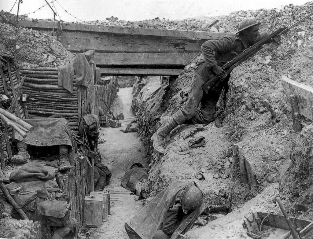 A German trench captured by British soldiers of A Company 11th Battalion - The Cheshire Regiment at Ovillers-la Boisselle July 1916 during the Battle of the Somme.