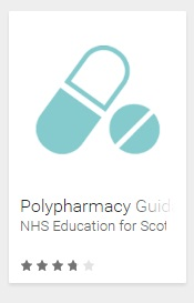 The second image is of stylised pills with text Polypharmacy Guidance NHS Education for Scotland below it