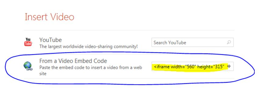 Paste the embed code into the From a Video Embed Code form