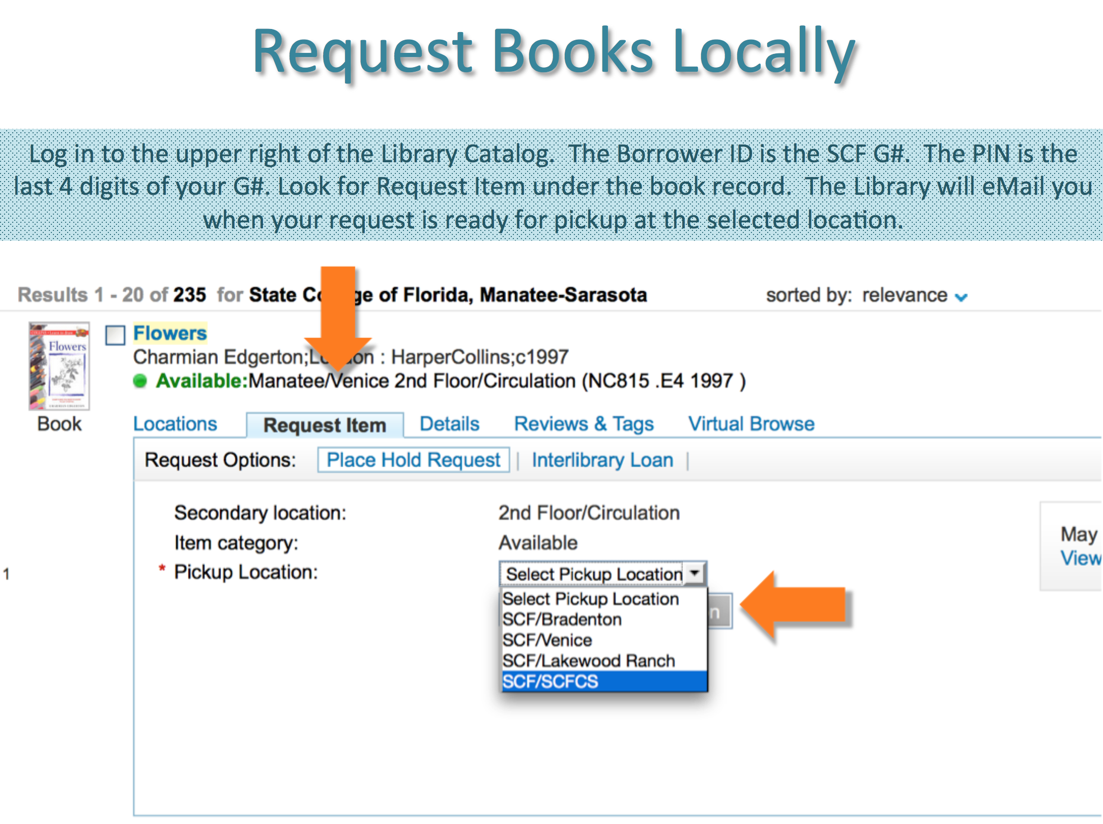 Go to Request after logging in at scf.edu/library
