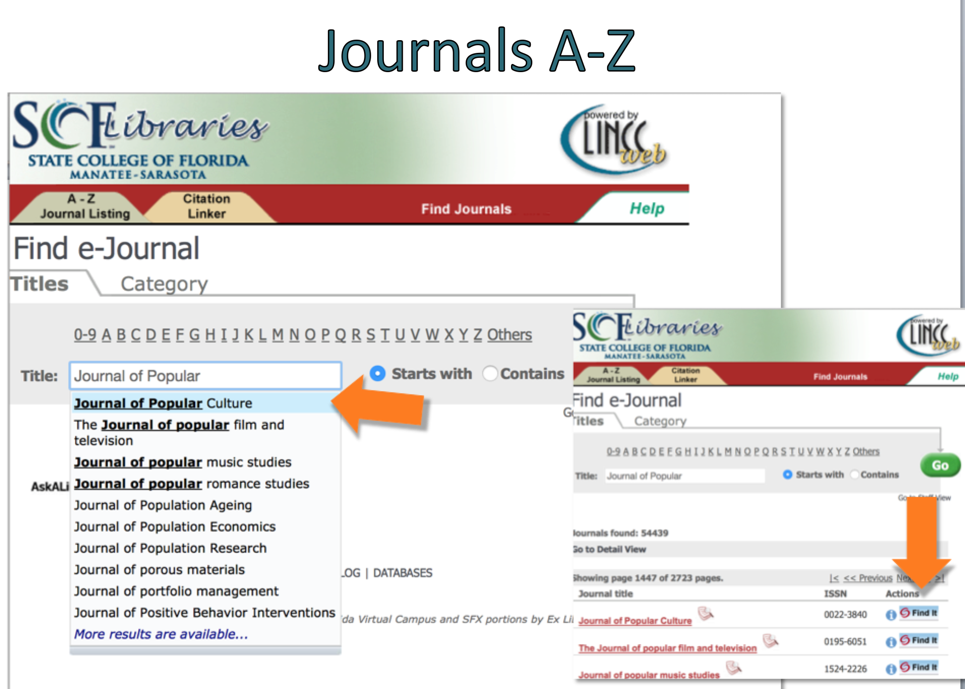 Journals A-Z search.