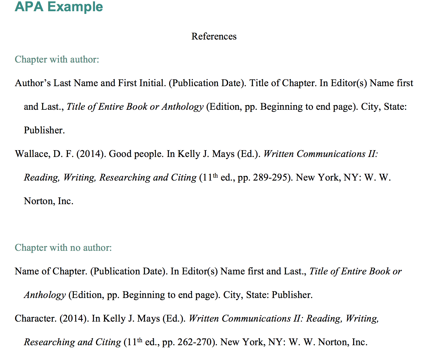 APA Example References Chapter with author:  Author's Last Name and First Initial. (Publication Date). Title of Chapter. In Editor(s) Name first and Last., Title of Entire Book or Anthology (Edition, pp. Beginning to end page). City, State: Publisher. Wallace, D. F. (2014). Good people. In Kelly J. Mays (Ed.). Written Communications II: Reading, Writing, Researching and Citing (11th ed., pp. 289-295). New York, NY: W. W. Norton, Inc.  Chapter with no author: Name of Chapter. (Publication Date). In Editor(s) Name first and Last., Title of Entire Book or Anthology (Edition, pp. Beginning to end page). City, State: Publisher. Character. (2014). In Kelly J. Mays (Ed.). Written Communications II: Reading, Writing, Researching and Citing (11th ed., pp. 262-270). New York, NY: W. W. Norton, Inc.
