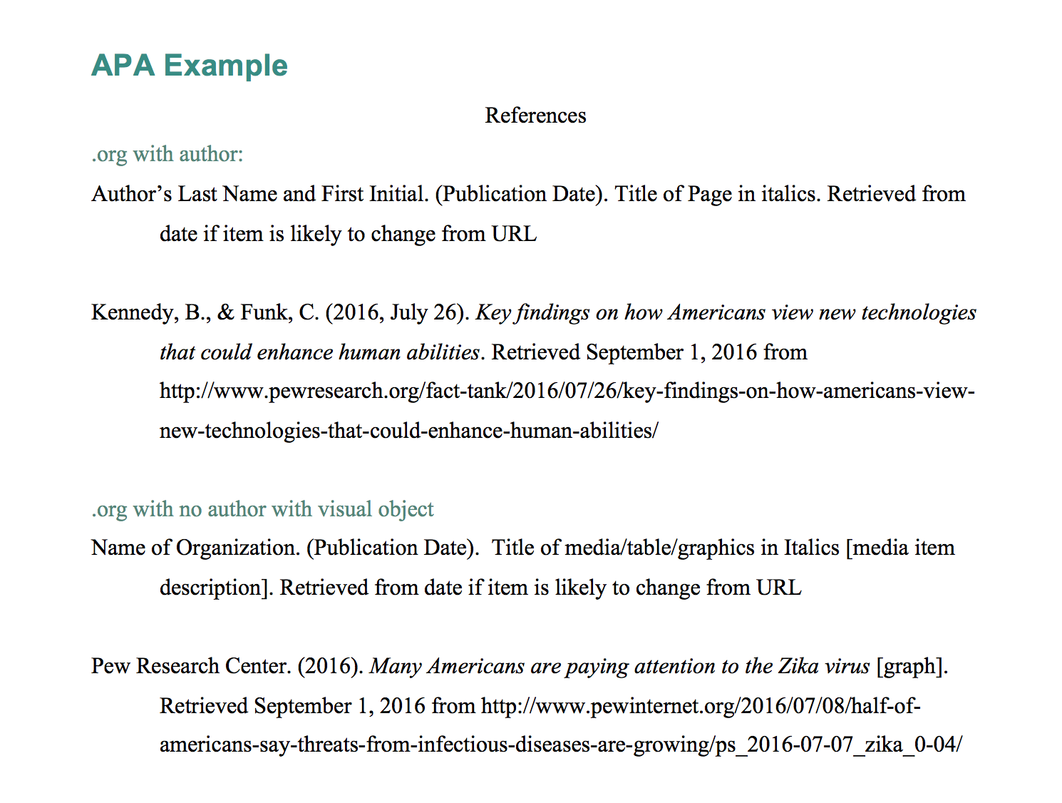 Explanation Example Apa Webpage In A Website With