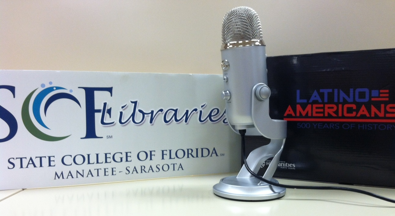 SCF Libraries and Latino Americans logos with microphone