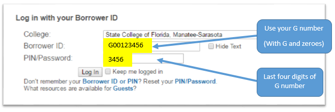 Borrower ID=G number and Password=last 4 digits