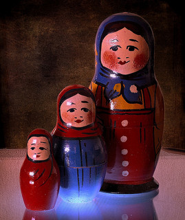 Russian nesting dolls sitting side by side