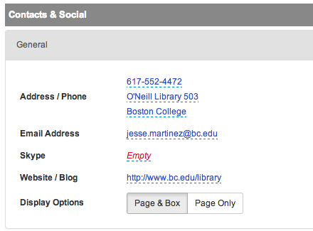 Social Media links can be created in the Social Media and Social Cataloging  tabs. These links will appear in the profile box as a small icon.