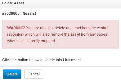 Delete Asset popup