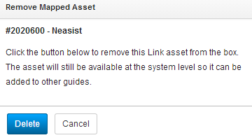 Remove Mapped Asset popup