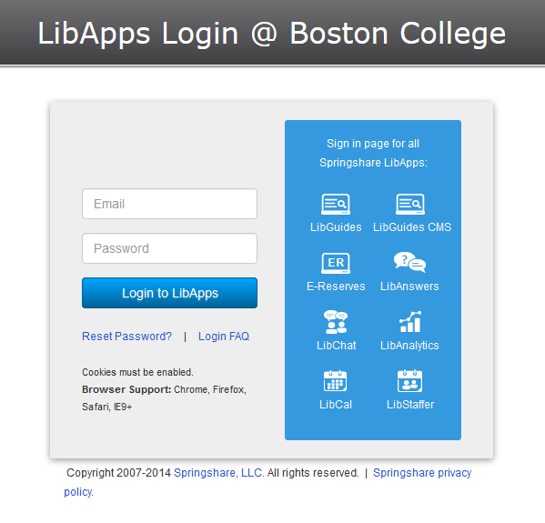 LibApps Login - Introduction to LibGuides - Libraries at
