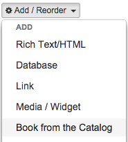 Screenshot of the Add-Reorder menu where the option for 'Book from the Catalog' can be found