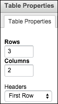 Screenshot of table properties menu in LibGuides.