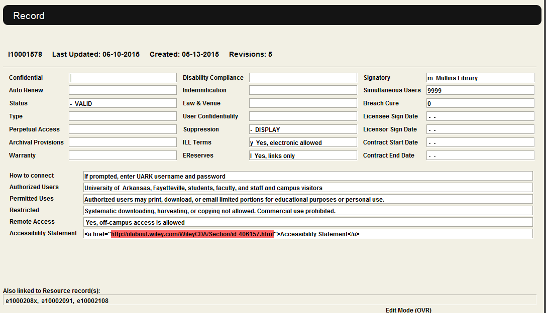 Example of License Record
