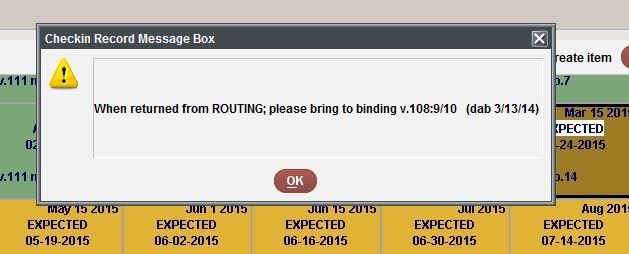 Check-in Record Message Box