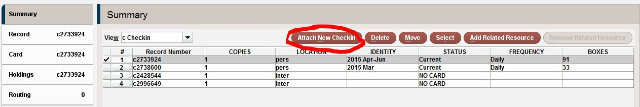 Create New Check in Card Button
