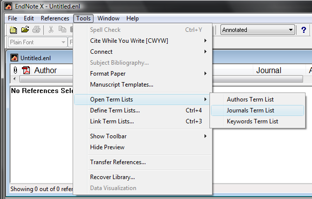 Delete Anything In The Terms Box 5 When You Have Nothing Left Under Tab Click Lists Select Journals From List