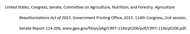 United States, Congress, Senate, Committee on Agriculture, Nutrition, and Forestry. Agriculture Reauthorizations Act of 2015. Government Printing Office, 2015. 114th Congress, 2nd session, Senate Report 114-206, www.gpo.gov/fdsys/pkg/CRPT-114srpt206/pdf/CRPT-114srpt206.pdf.