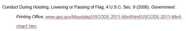 Conduct During Hoisting, Lowering or Passing of Flag, 4 U.S.C. Sec. 9 (2008). Government Printing Office, www.gpo.gov/fdsys/pkg/USCODE-2011-title4/html/USCODE-2011-title4-chap1.htm.