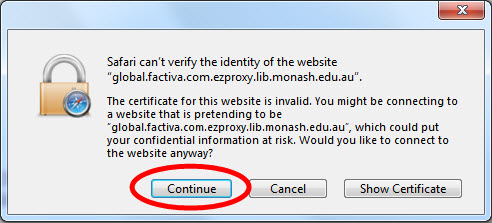 website certificate select continue in dialogue box