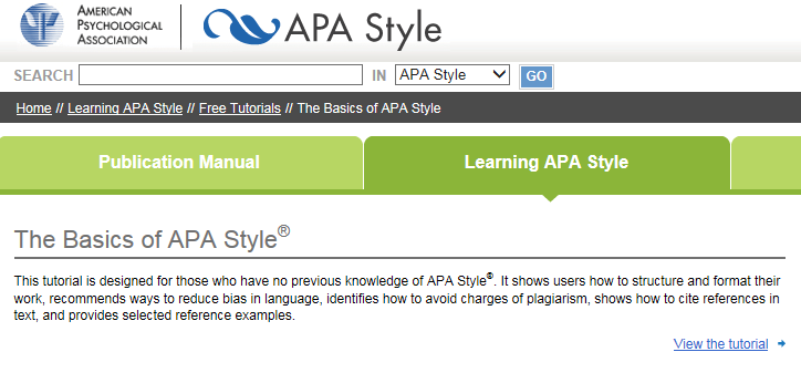 Front page linking to the APA referencing tutorial. Click on here to start tutorial.