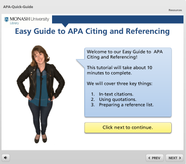 Front page of Monash's 'Easy Guide to APA Citing and Referencing' Tutorial. Click on image to start tutorial.
