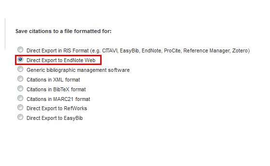 Direct Export to EndNote Web