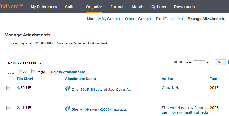 screenshot of manage attachments screen in Endnote Online