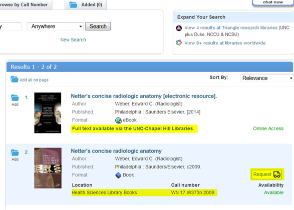 screenshot with request button, call number of print book, and link to ebook highlighted