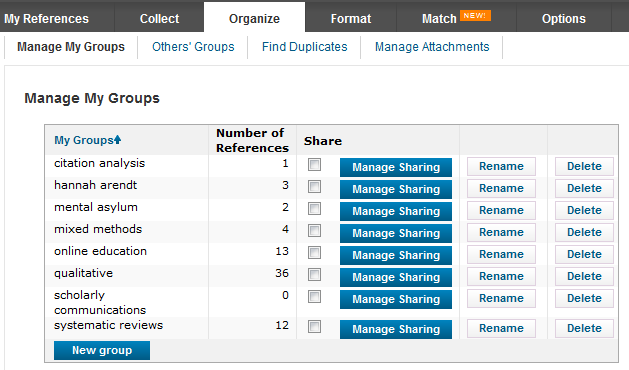 screenshot of manage my groups screen