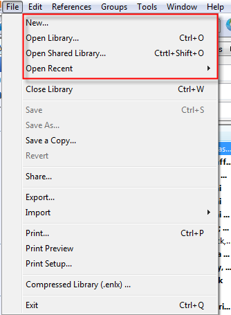 Endnote file menu