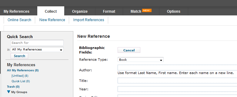 screenshot of the insert new reference screen in Endnote