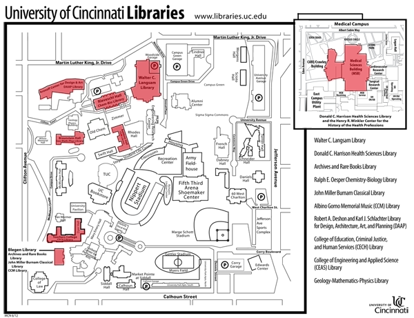 Map of the Clifotn campus with libraries highlighted