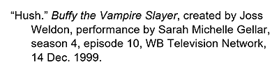 Citation for an episode for a TV series with the date the episode aired.
