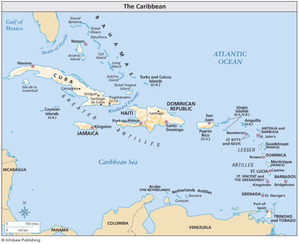 A map of the Caribbean Region