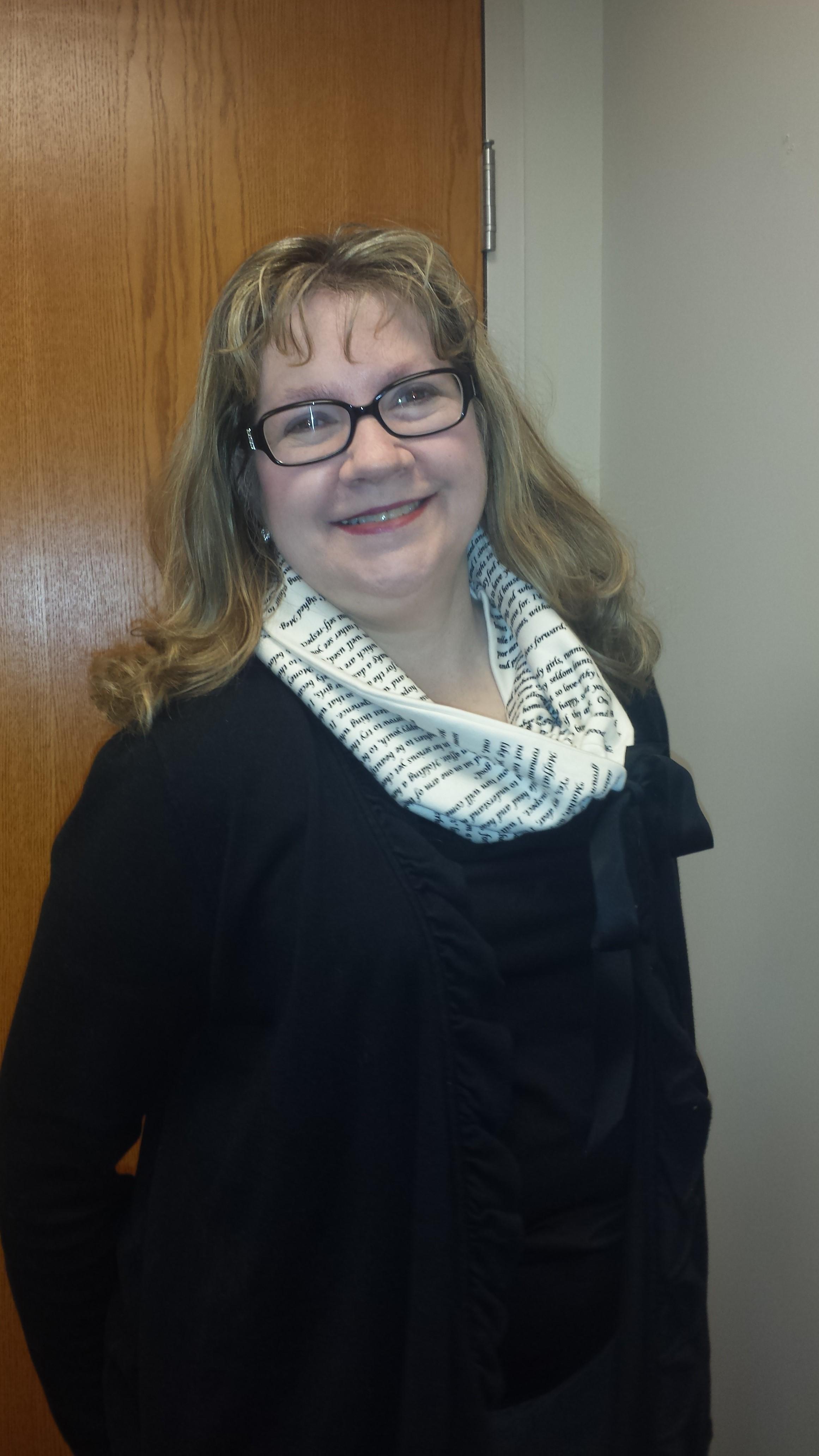Janice wearing her Little Women scarf