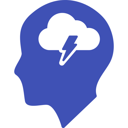 head with thunder cloud
