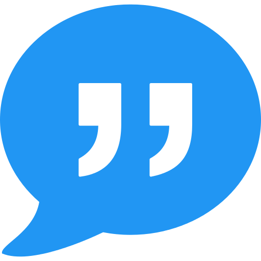 speech bubble with quotation marks