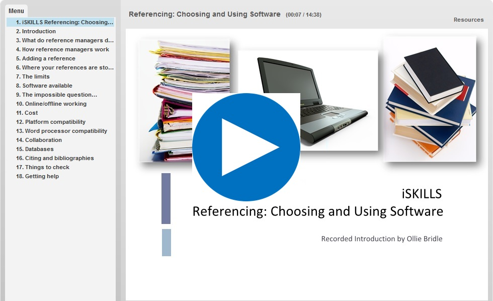 Link to video tutorial on choosing and using reference management software