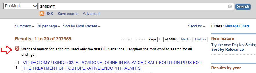 truncation and phrases a roadmap for searching literature in  be careful about where you place the truncation symbol pubmed will display a warning if it finds more than 600 word variations
