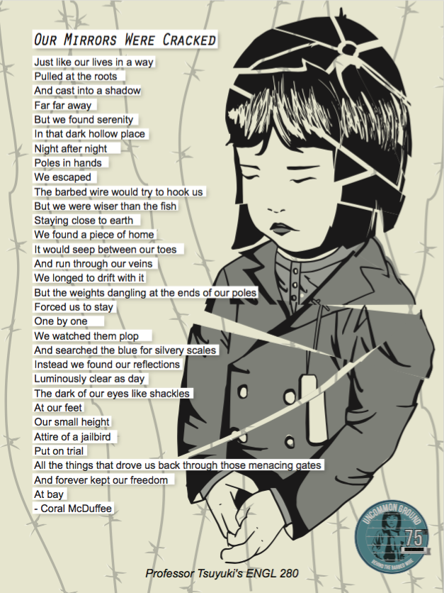 Shattered picture of young Japanese American girl and text of poem