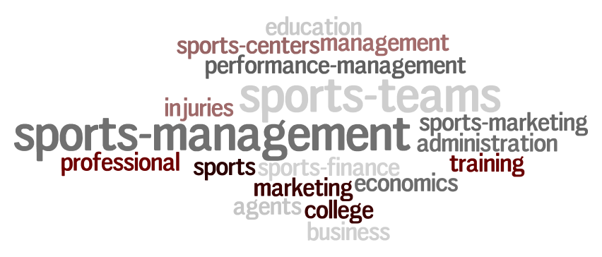 word cloud of terms related to sports management