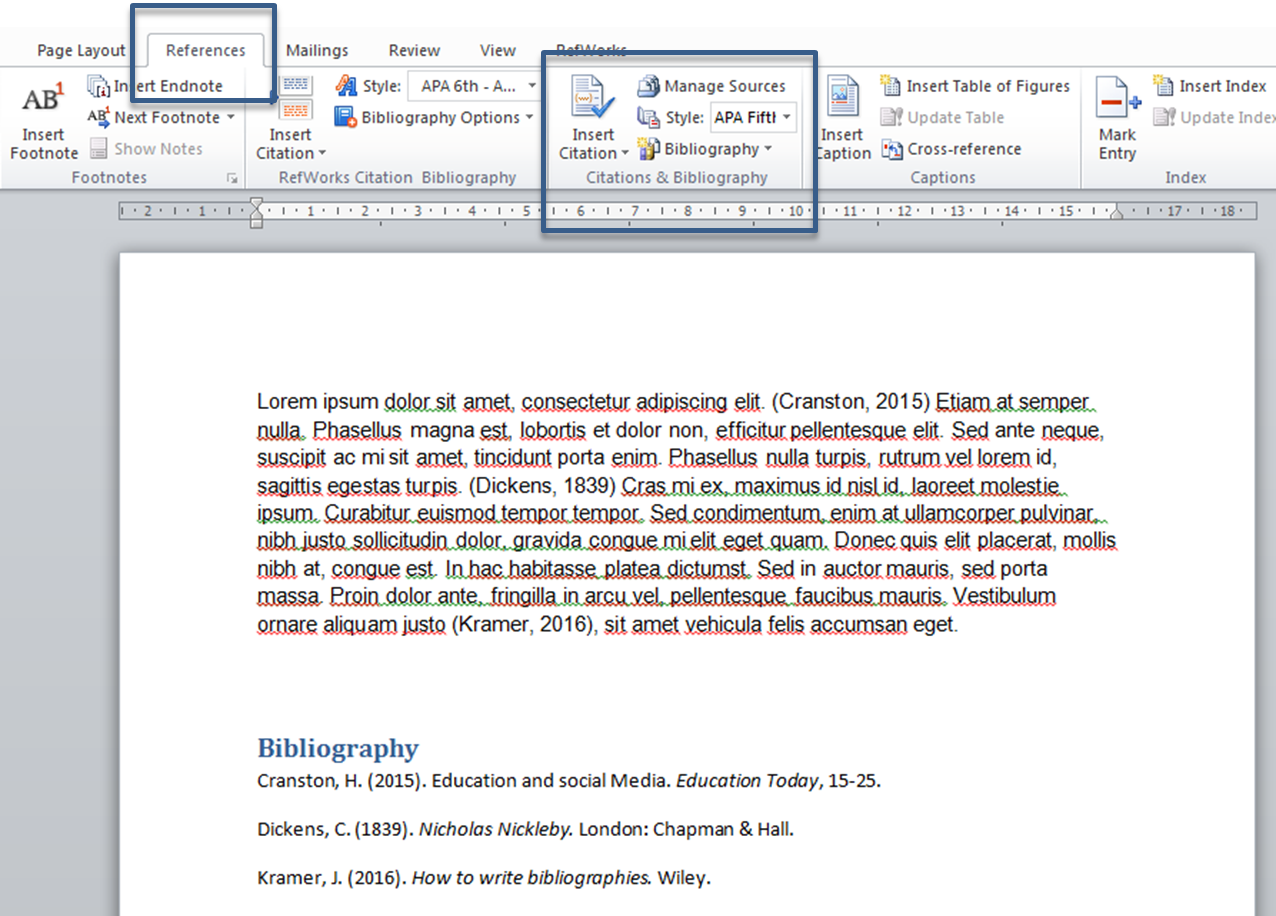 Screen capture of Microsoft Word