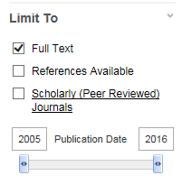image of EBSCO search limiters options, with Full Text selected