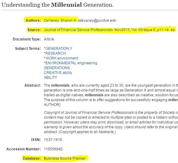 image of EBSCO detailed record for article titled Understanding the Millennial Generation