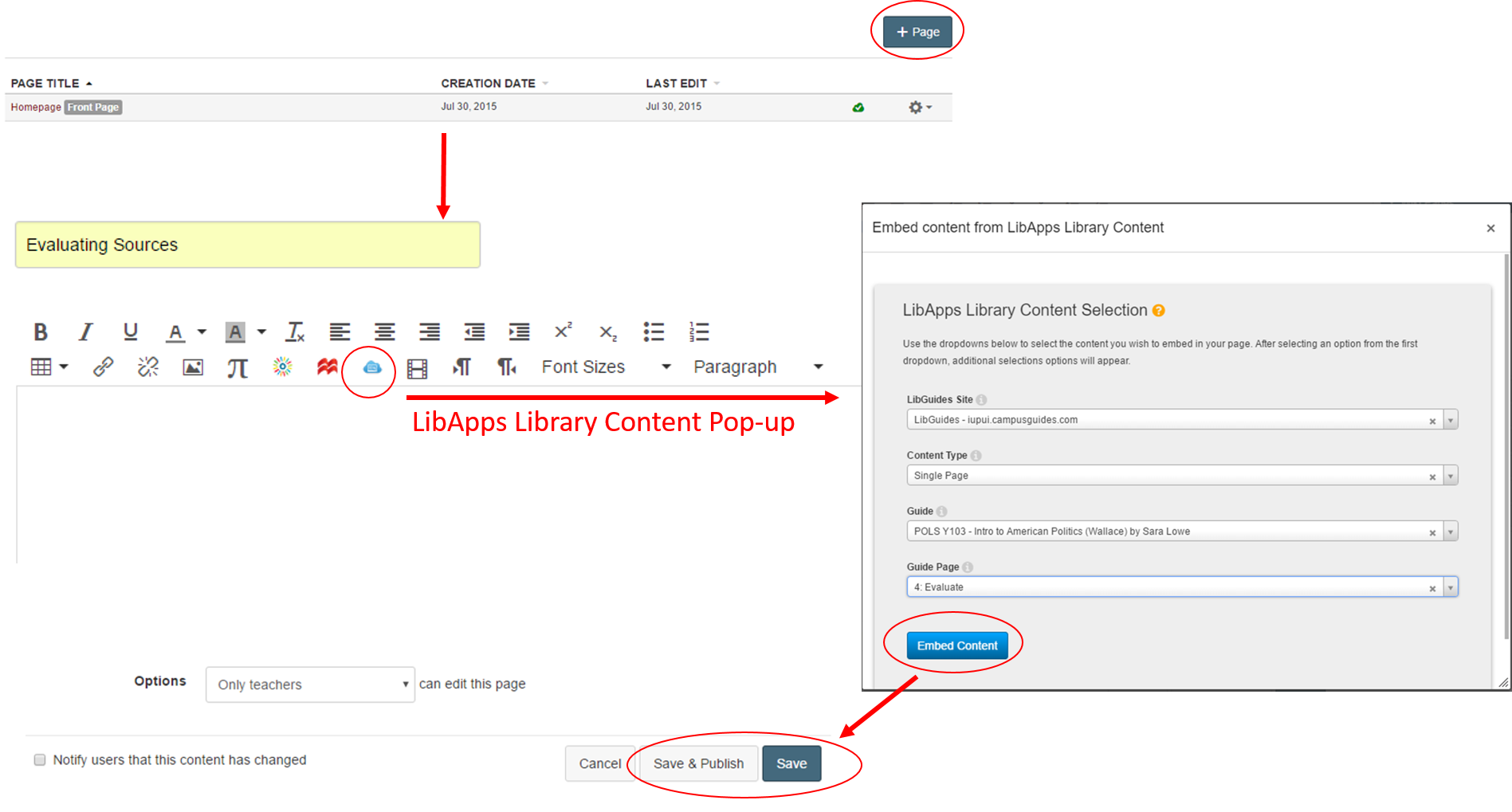 Screenshot of adding LibGuide content to Canvas course page