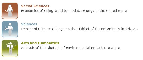 Customize Topic by discipline: Social Sciences - Economics of Using Wind to produce energy in the U.S. ; Sciences - Impact of climate change on the habitat of desert animals in Arizona ; Arts & Humanities - Analysis of the Rhetoric of Environmental Protest Literature
